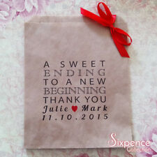 Personalised A Sweet Ending Thank You Kraft Brown Paper Lolly Bags x 50