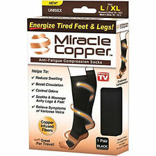 Unisex Black Miracle Copper Socks Anti Fatigue Compression Soothe Tired Socks