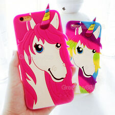 3D Cartoon Colorful Unicorn Rubber Silicone Soft Case Cover for iPhone 5S 6 6S