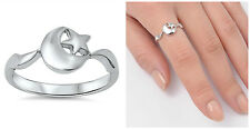 .925 Sterling Silver 9MM PRETTY MOON & STAR DESIGN SILVER RING SIZES 4-10