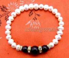 "SALE 6-7mm white Natural Pearl & black natural Round Agate 7.5"" bracelet-br285"