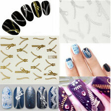 Nail Art Wraps Transfers Decals Metallic Funky Zipper Gold Silver Zips Stickers