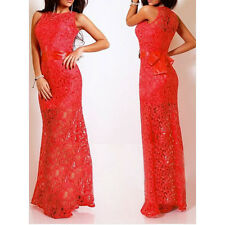 Lace Sexy Satin Patchwork Party elegant women Maxi Dress Red 5111 2015 new