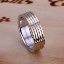 Fashion Unisex 18K White/Rose Gold GP stripe Ring Size 8&9 Jewelry H072