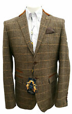 MENS MARC DARCY CHECK TWEED DX7 FASHION BLAZER GREAT WITH JEANS - TAN