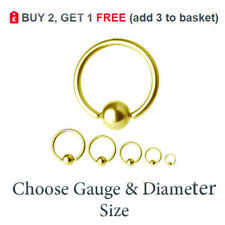GOLD BCR Ball Closure Ring Captive Bead Hoop Steel Nose Helix Tragus Lip 16G