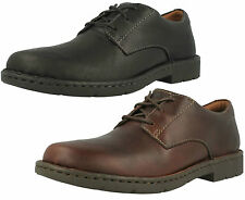 STRATTON WAY- MENS CLARKS BLACK BROWN LEATHER LACE UP CASUAL COMFY SHOES H FIT