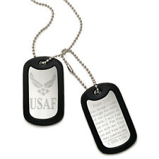 Made in USA Stainless Steel Dog Tag Necklace with U.S. Air Force Logo Design