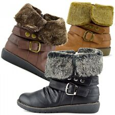 Womens Ladies Girls Ankle Flat Faux Fur Lined Boots Snow Flat Warm Winter Boots