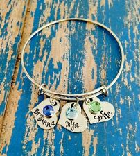 Personalized Name & Birthstone Heart Stainless Steel Expandable Bangle Bracelet