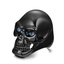 Stainless Steel Men's Skull Head Gothic Punk Biker Finger Ring Black US 8-12
