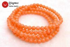 "SALE Beautiful Small natural 5-6mm Round pink coral 30"" bracelet/Necklace-bra297"