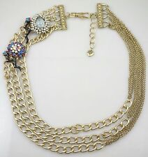 Betsey Johnson Multi Color Crystal Enamel Snake Multi Chain Statement Necklace