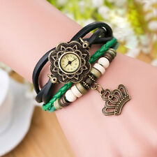 Retro Quartz Weave Around Leather Crown Bracelet Lady Woman Wrist Watch Gift