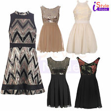 New Womens Ladies Sequin Embellished Chiffon Floral Skater Prom Party Dress