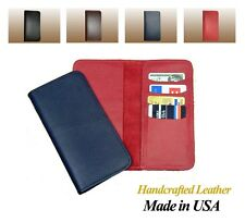 100% Cowhide Leather Checkbook Cover w/ Credit Card pocket for Duplicate Checks