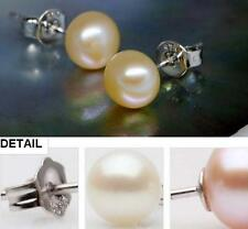 Wholesale Natural Freshwater Pearl Silver Stud Earrings AAA Pink