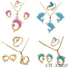 """18K Gold Filled Dolphin Earrings Necklace Ring Jewellery Sets for Kids Girls 16"""""""