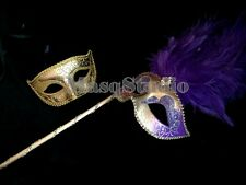 Masquerade stick mask Purple dance party prom quinceanera Birthday Halloween