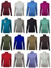 WOMENS LADIES CASUAL HIGH POLO NECK LONG SLEEVE KNITTED JUMPER WARM RIBBED TOP