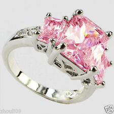925 Silver Filled Pink Sapphire Birthstone Bridal Engagement Weeding Ring 6-10