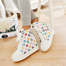Fashion Hot 20415 Womens High Top High Wedge Heel Sneaker Leather Girls Shoes