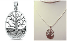 "Sterling Silver 925 ""TREE OF LIFE"" PENDANT 34MM WITH SNAKE CHAIN NECKLACE 16"""