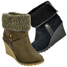 New Ladies Wedge Heel Ankle Boots Women Winter Pull On Snow faux fur lined Boots