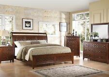 Modern Walnut Finish Bedroom Furniture 4pc Set Bed Dresser Mirror Nightstand
