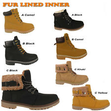 Ladies Womens Ankle Boots Lace Up Fur Lined Combat Army Girls Warm Winter Shoes