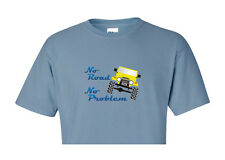 "Toyota FJ40 Landcruiser ""No Road No Problem"" Design Blue T Shirt"