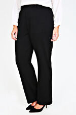 Plus Size Black Pull On Ponte Bootcut Trousers   Size
