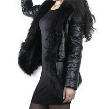 2015 Fashion Womens Faux Fur Jacket Coat Winter PU Leather Long Sleeve Outerwear