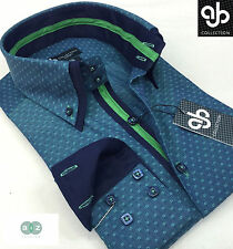 New Mens Formal Smart Green Double Collar Slim Fit Italian Design Shirt