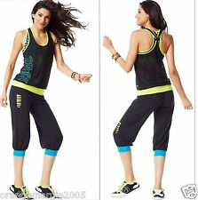 ZUMBA  FITNESS Comfy Hip-Hop Sweats,Capri Pants,RacerBack Top & VBra 3PC.SET - M