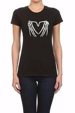 NW WOMEN PRINTED HAND SKELETON HEART ROCK & ROLL FUNNY HIPSTER BLACK T-SHIRT