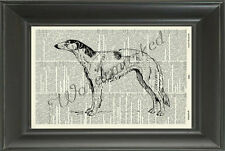 ORIGINAL-Borzio Dog Printed on Vintage Dictionary Page-Wall Hanging 338B/451D