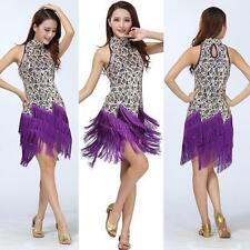 Sequin Latin Tango Samba Ballroom Salsa Dance Dress Fringes Tassels Skirt D12