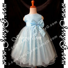 #SB8 Flower Girl Wedding Formal Gown Dress Blue 3 6 9 12 18 24 Months 2 3 4 5T