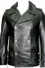 Men's German Naval Military Pea Coat Analine Black Cowhide Real Leather Jacket