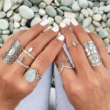 Hot Sale 4 Styles Carved Chunky Vintage Silver Ethnic Wide Women's Band Ring