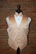 MENS MEDIUM GOLDEN YELLOW TUXEDO VEST / BOW or TIE by CARDI  SOLID SATIN
