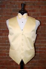 MENS LARGE BANANA  YELLOW TUXEDO VEST / BOW or TIE by CARDI  INT. SOLID SATIN