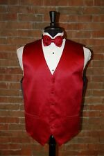 MENS LARGE  APPLE RED  TUXEDO VEST / BOW TIE by CARDI INTERNATIONAL SATIN