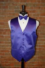 MENS LARGE PURPLE TUXEDO VEST / BOW TIE by CARDI INTERNATIONAL SATIN