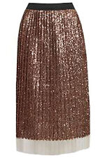 TOPSHOP NEW ROSE GOLD BRONZE SEQUIN PLEATED MIDI PARTY SKIRT SIZES 8-16 RRP £75