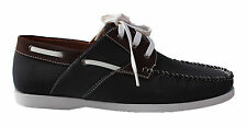 MENS GIO GINO CANVAS LACE UP FASHION BOAT / DECK SHOES LF 60 - NAVY BLUE