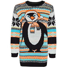 Ladies Aztec Penguin Print Knitted Christmas Jumper Size UK S/M 8-10 New