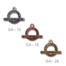 TierraCast Spiral Toggle Clasp - 3 color options - plated pewter jewelry clasp