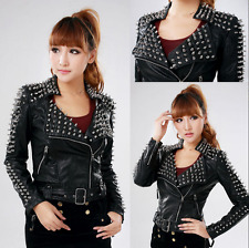 Hot Women's Punk Spike Studded Shoulder Cropped Rock Jacket PU Leather Coat A184